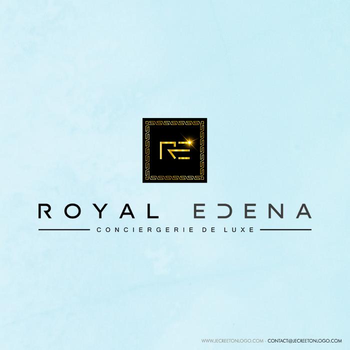 logo carré noir or luxe étoile